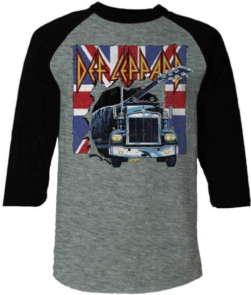 Def Leppard Men's Baseball Jersey T-shirt - On Through the Night Album Cover | Gray & Black Raglan Shirt