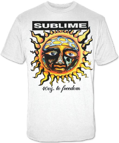 Sublime 40 Oz. to Freedom Album Cover Artwork Men's White T-shirt