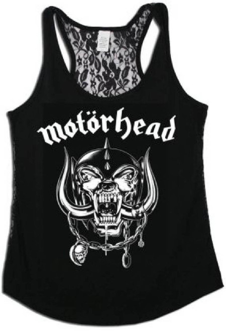 Motorhead Women's Tank Top T-shirt - War Pig Snaggletooth Logo | Black Shirt