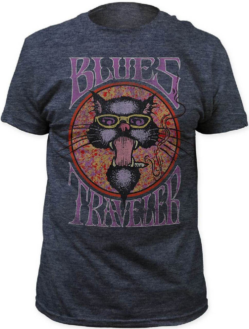 Blues Traveler Cat Logo Men's Gray Vintage T-shirt