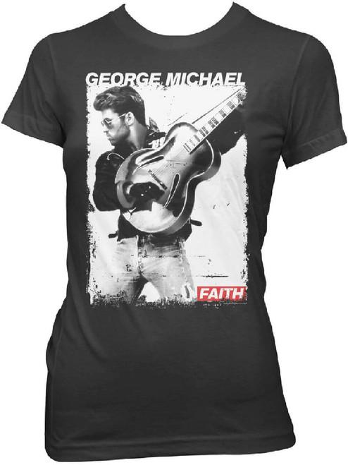 George Michael Women's T-shirt - Faith Music Video Photo. Black Shirt