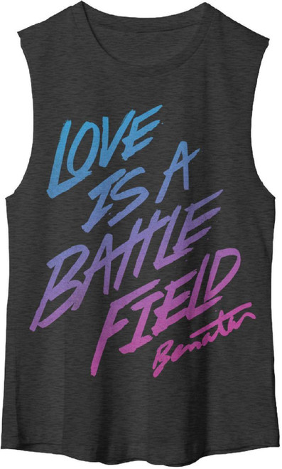 Pat Benatar Women's Muscle T-shirt - Love is a Battlefield Song Title | Black Sleeveless Shirt