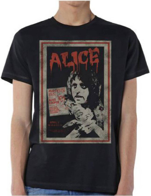 Alice Cooper Mad House Rocks Tour April 8 Show Performance Promotional Poster Artwork Men's Black Vintage Concert T-shirt