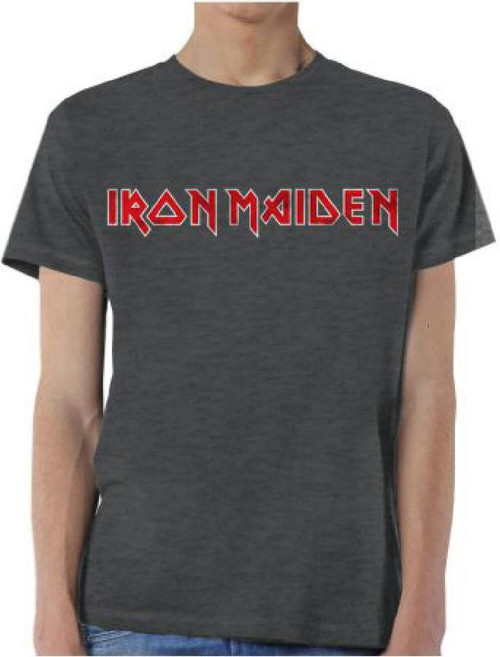 Iron Maiden Logo Men's Gray Vintage T-shirt
