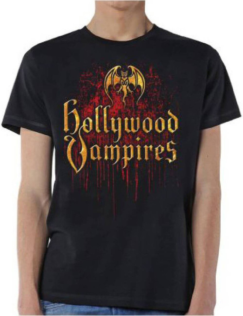 Hollywood Vampires Supergroup Logo and Debut Album Cover Artwork Men's Black T-shirt