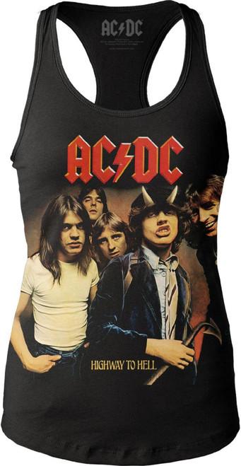 AC/DC Women's T-shirt - ACDC Highway to Hell Album Cover Artwork   Black Tank Top Shirt