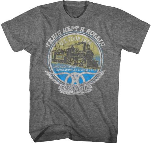 Aerosmith US Tour 1974 Civic Auditorium Santa Monica, CA April 11-12 Shows with Train Kept A Rollin Song Title Men's Black Vintage Concert T-shirt