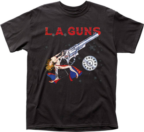 LA Guns Album Cover T-shirt - Cocked & Loaded Men's Black