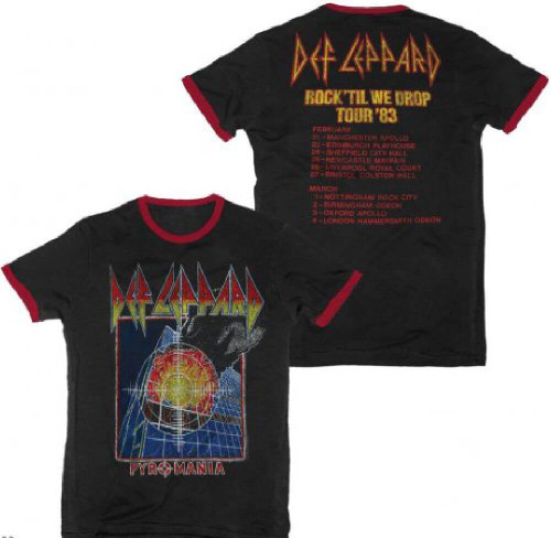 Def Leppard Pyromania Rock Til We Drop Tour 1983 Men's Black and Red Ringer Vintage Concert T-shirt