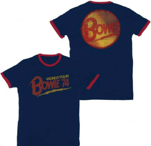 David Bowie Vintage Concert T-shirt - World Tour 1974. Men's Blue and Red Ringer Shirt