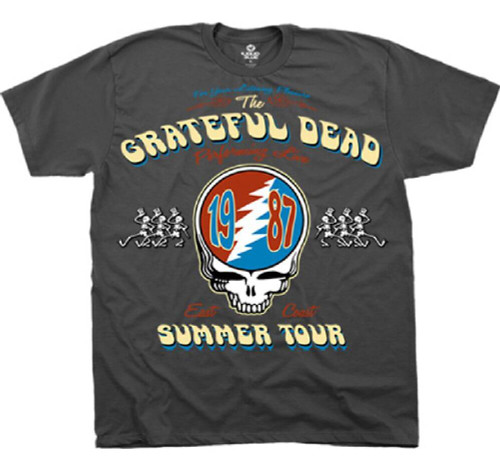 Grateful Dead Summer Tour 1987 Performing Live East Coast with Vector Lightning Skull Logo Men's Gray Concert T-shirt