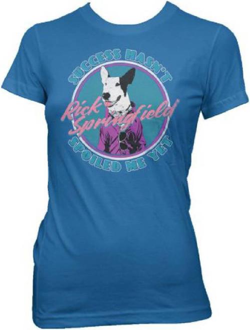 Rick Springfield Success Hasn't Spoiled Me Yet Album Cover Artwork Women's Blue Vintage T-shirt