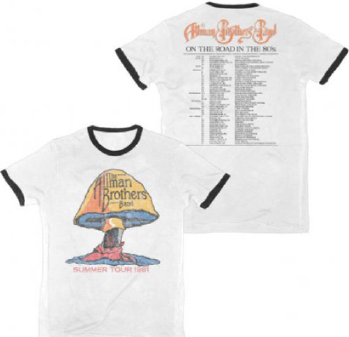 Allman Brothers Vintage Concert T-shirt - Summer Tour 1981. Men's White w/ Black Ringer Shirt