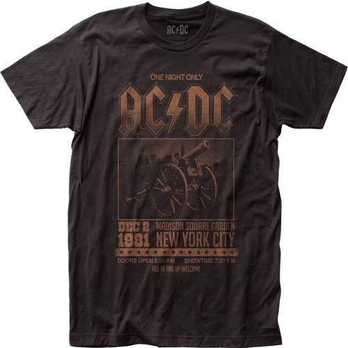 AC/DC December 2, 1981 Madison Square Garden New York City Concert Promotional Poster Artwork Men's Black Vintage T-shirt