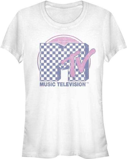 MTV Music Television Checkerboard Logo Women's White Vintage T-shirt