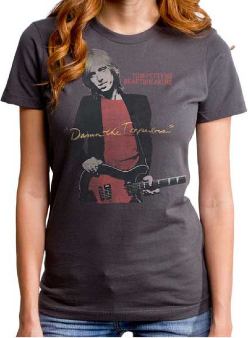 Tom Petty and the Heartbreakers Vintage T-Shirt – Tom Petty and the Heartbreakers Damn the Torpedoes Album Cover Artwork   Women's Gray Shirt