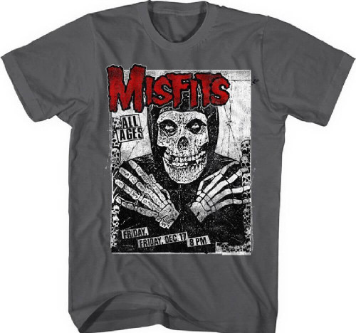 Misfits Concert T-shirt - Concert Poster Artwork | Men's Gray Vintage Shirt