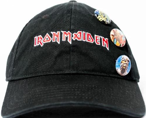 Iron Maiden Baseball Hat - Logo w/ Eddie the Head Buttons. Black Tri-Glide Closure Cap
