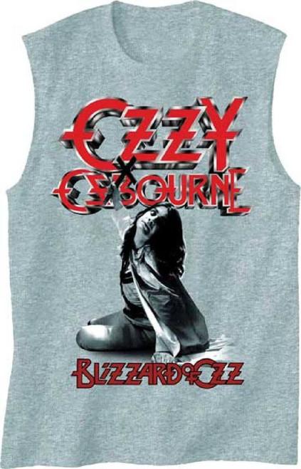 Ozzy Osbourne Muscle T-shirt - Blizzard of Ozz Album Cover Art   Men's Gray Sleeveless Shirt