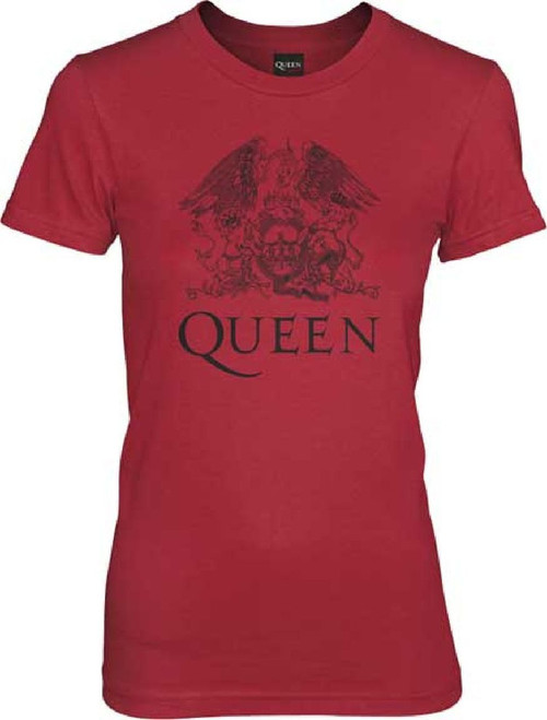 Queen Classic Rock Roll Band Group Crest Logo Women's Red T-shirt