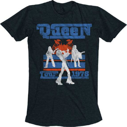Queen Tour 1976 Men's Black Vintage Concert T-shirt