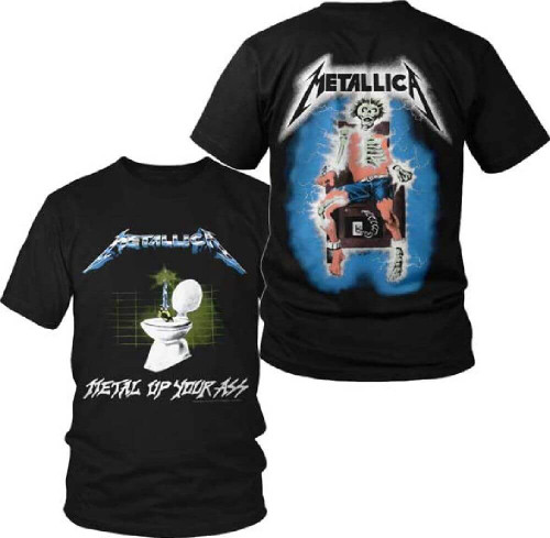 Metallica Metal Up Your Ass Album Cover Artwork with Electrocuted Man Skeleton Logo Men's Black T-shirt