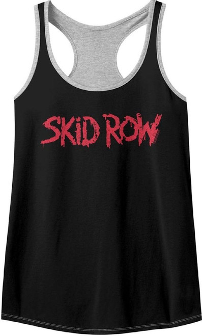 Skid Row Rock Band Logo Women's Black and Gray Tank Top T-shirt