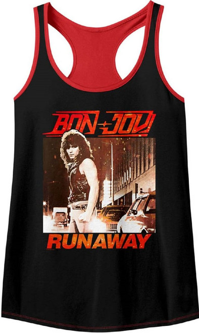Bon Jovi Women's Tank Top T-shirt - Runaway Song Single Album Cover Art. Black