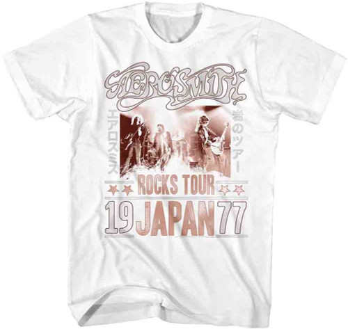 Aerosmith Rocks Tour Japan 1977 Men's White Vintage Concert T-shirt