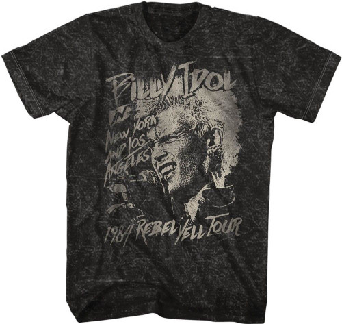 Billy Idol Rebel Yell Tour 1984 in New York and Los Angeles Men's Black Vintage Concert T-shirt