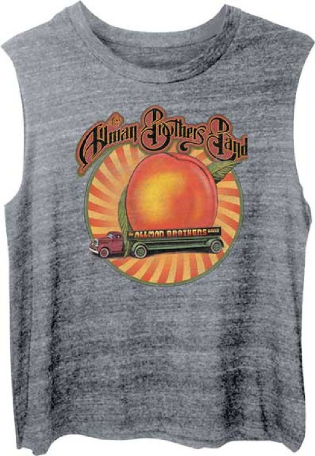 The Allman Brothers Band Eat a Peach Album Cover Art  Women's Gray Sleeveless Muscle T-shirt