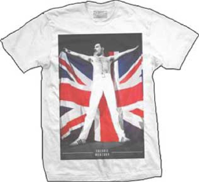 Queen Freddie Mercury Holding Union Jack British Flag Photograph Hungarian Rhapsody Queen Live in Budapest Men's White T-shirt