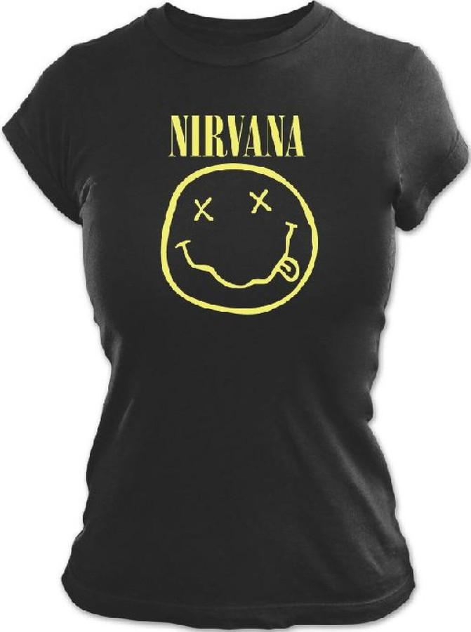 Nirvana Smiley Face Logo Women S Black T Shirt Rocker Rags