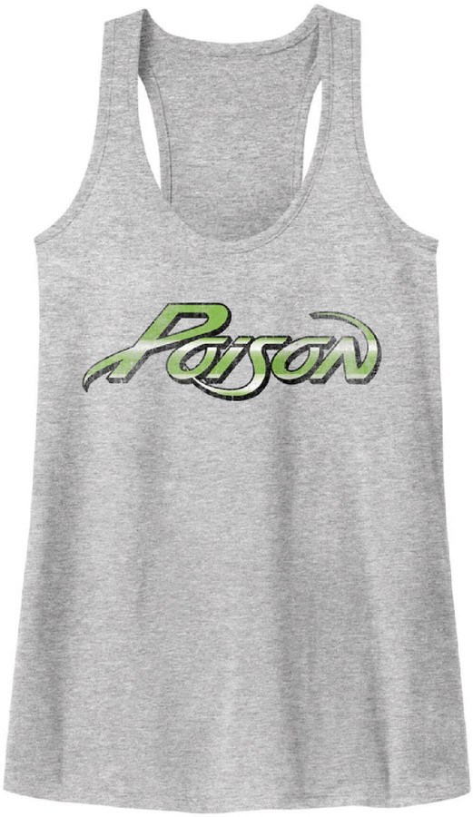 Poison Rock Band Logo Women's Gray Vintage Tank Top T-shirt