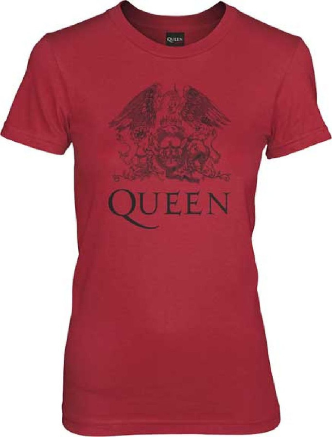Queen Classic Rock Roll Band Group Crest Logo Women's Red T-shirt