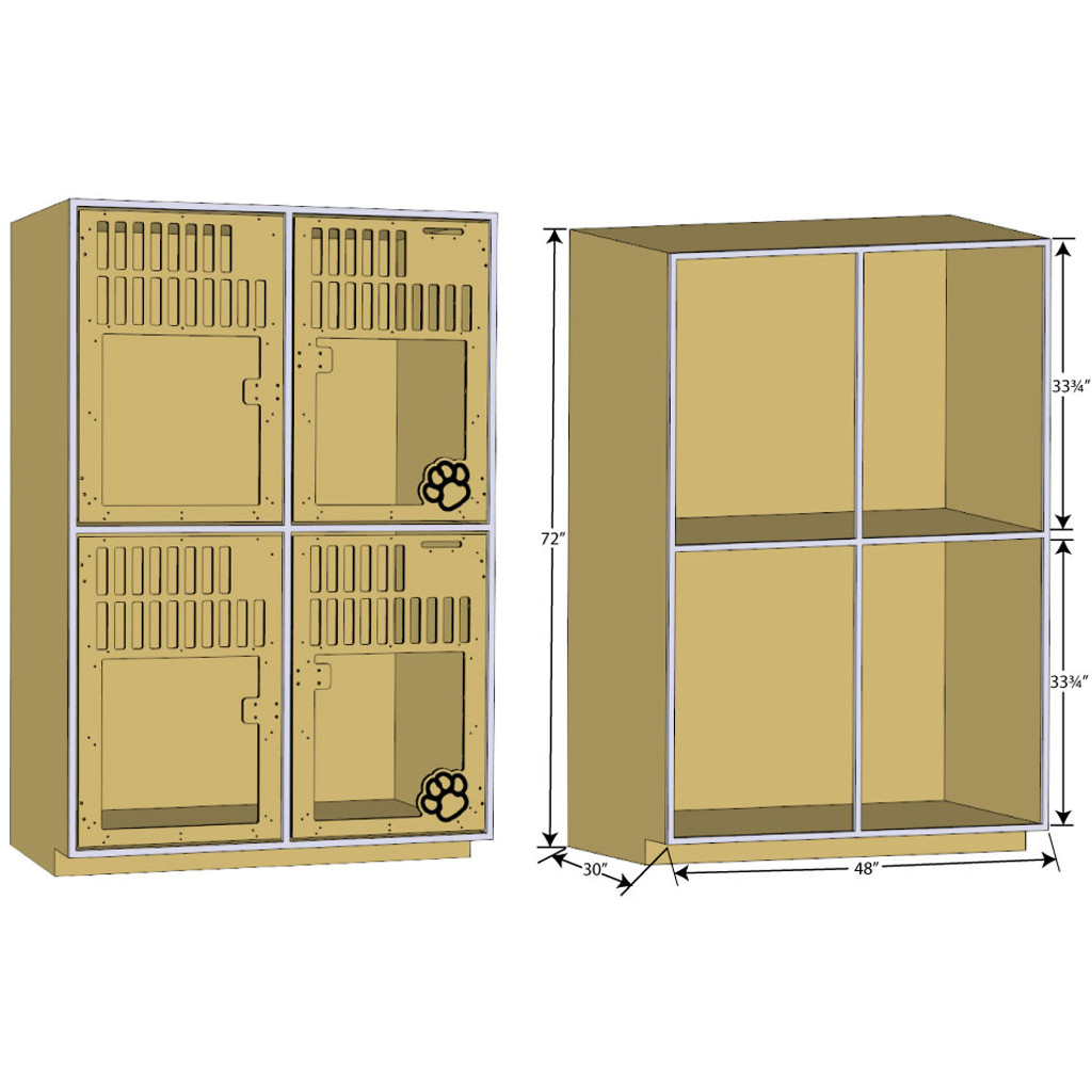 double-stack dog kennel dimensions.