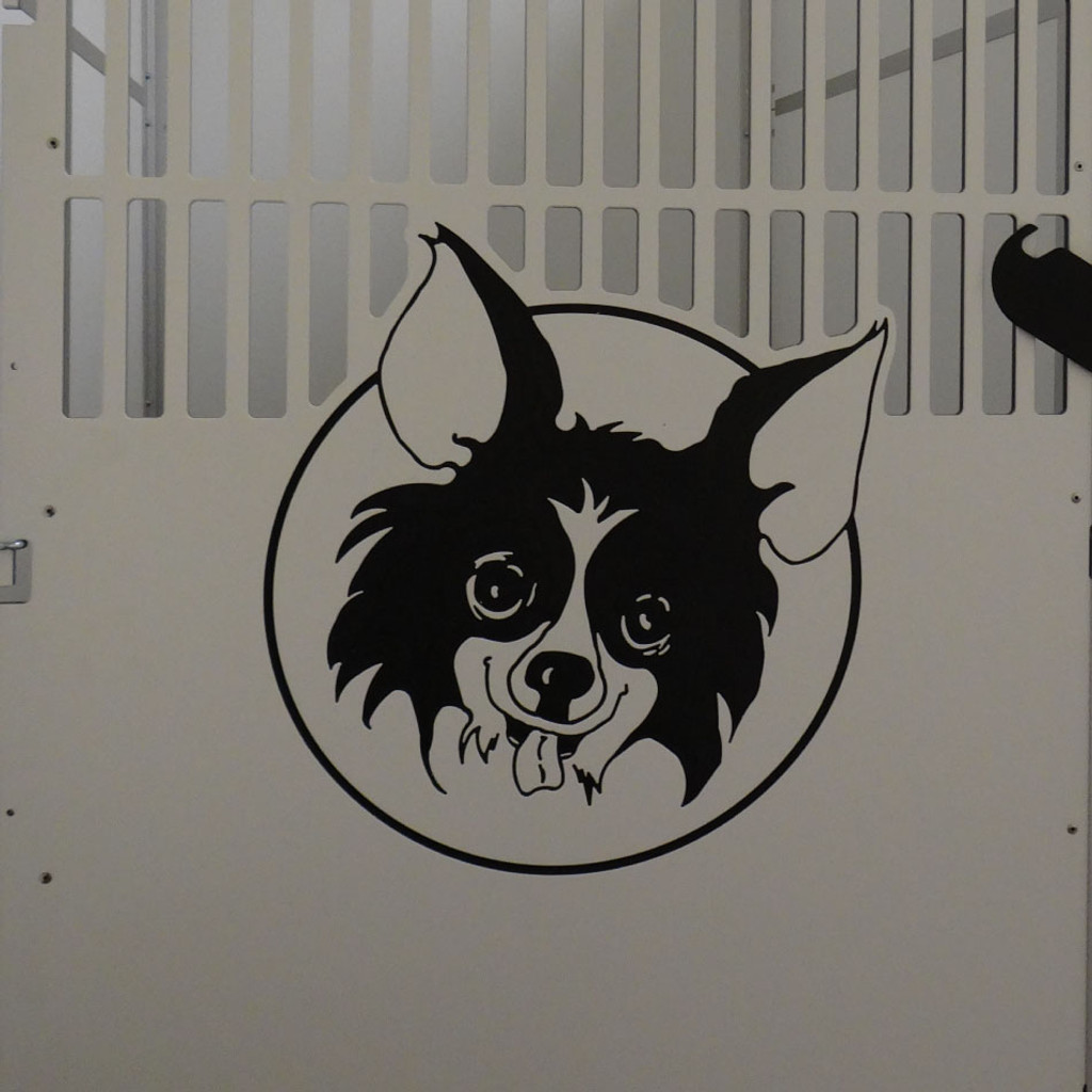 Sit Means Sit Logo engraved on the dog kennel.