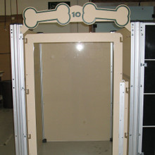 Dog kennel with tempered glass door.