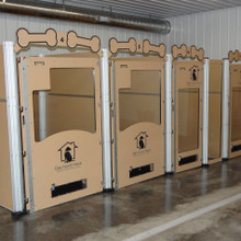 Large dog kennels with glass gates.