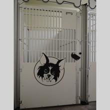 Dog kennel with logo/design.