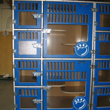 These cat-hotel units have increased the adoption-rate at the Humane Society of Lincoln County!  Since the kennels are easy to clean, the cats are staying healthier - which gives them a better chance of being adopted!  Additionally, healthier cats leads to less medications and expenses for the Humane Society - which makes the donation-dollars stretch further.