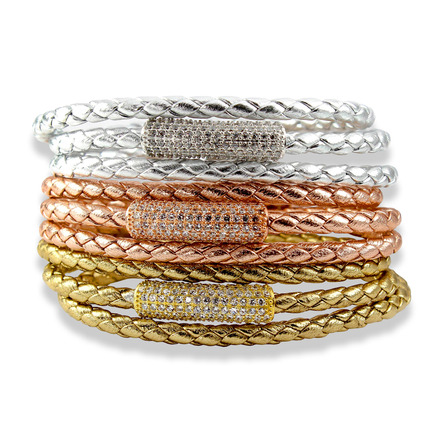 Ultra Chic and yet laid back this Triple Wrap Rich Braided Leather Bracelet Sterling Silver Bead with CZ Sterling Silver Magnetic Clasp.