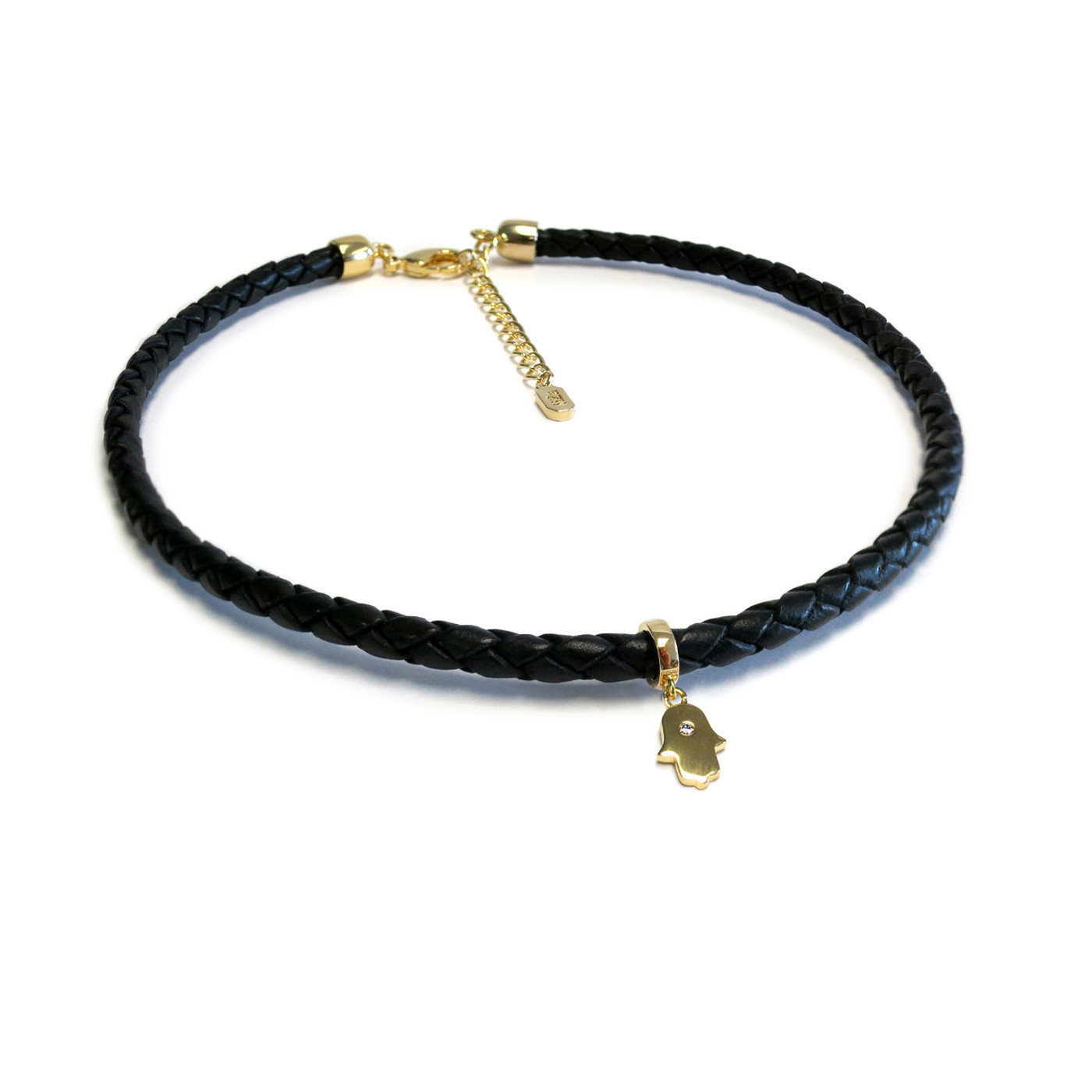 Gold Hamsa Leather Choker