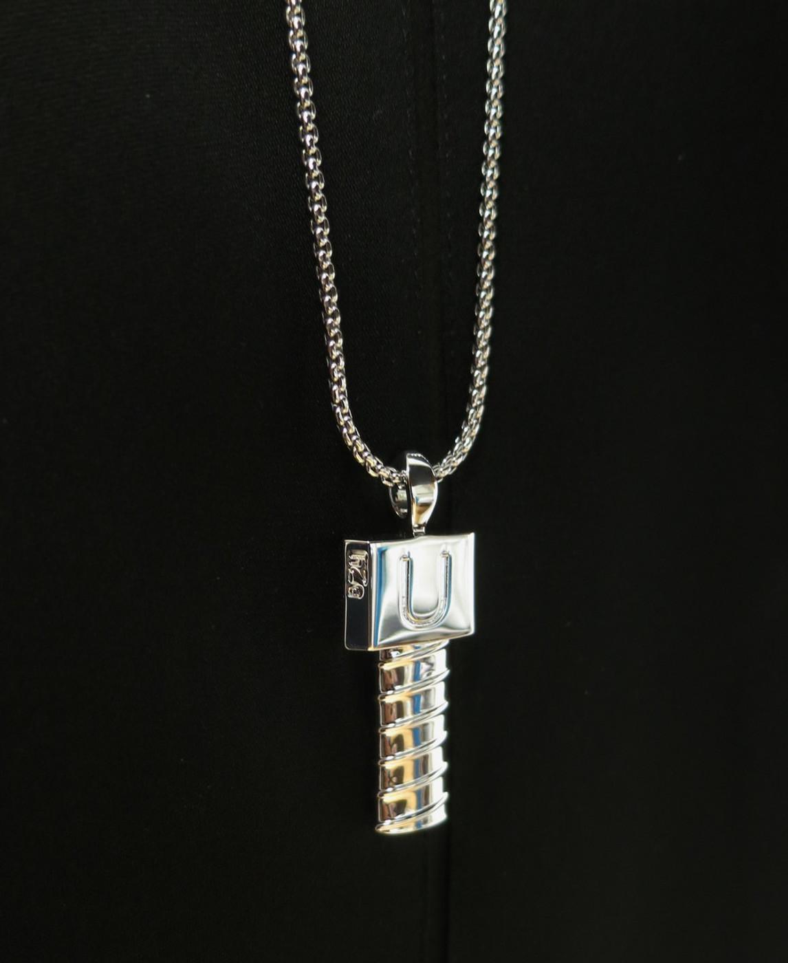 Men Screw U Silver Necklace