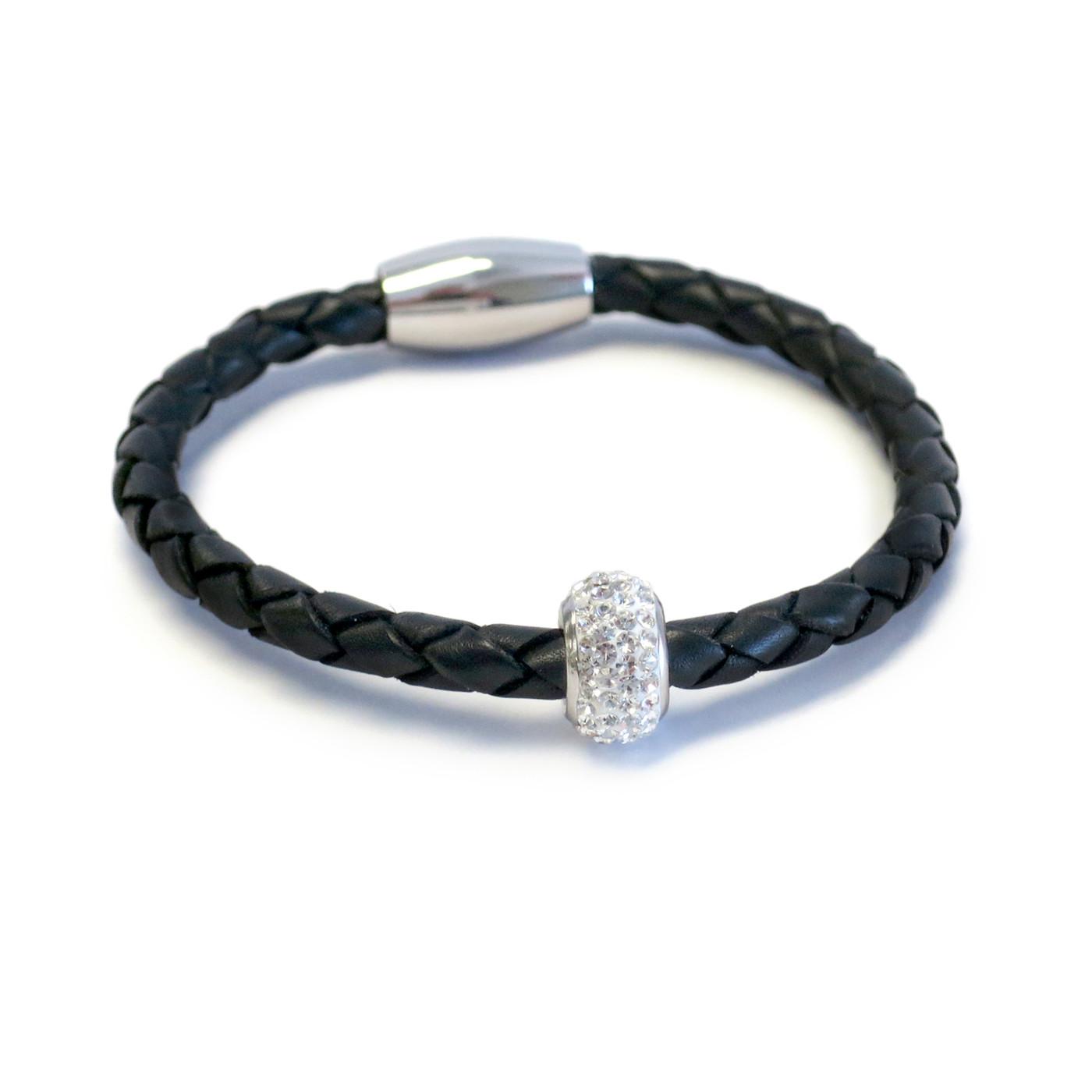 Kids Bedazzle Leather Bracelet  Black