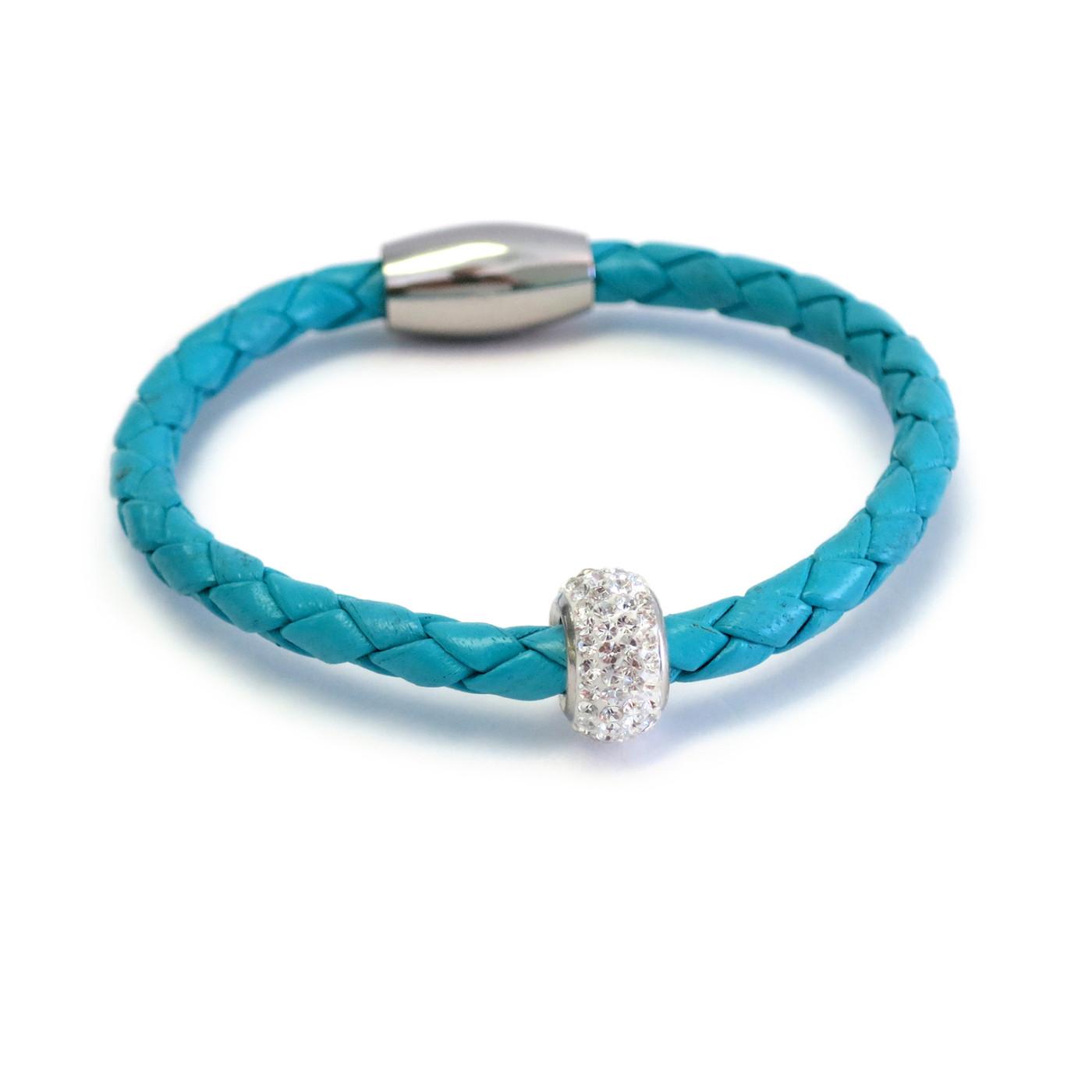 Kids Bedazzle Leather Bracelet  Turquoise
