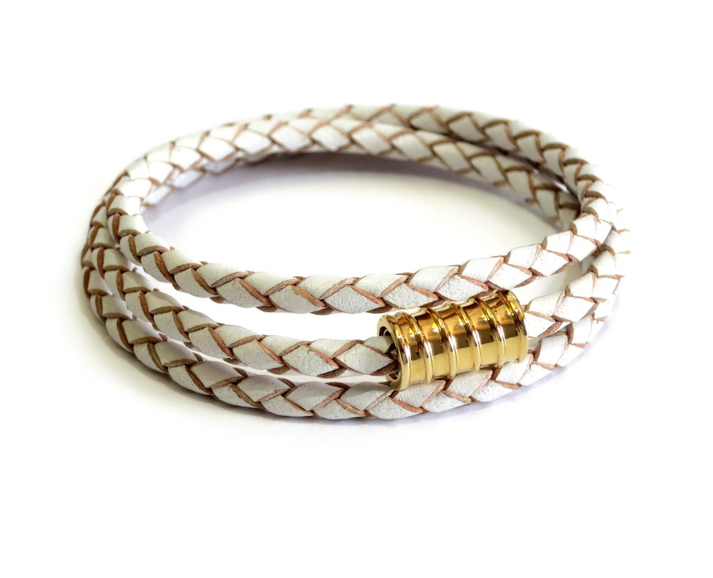 Triple Leather Wrap Gold Screw