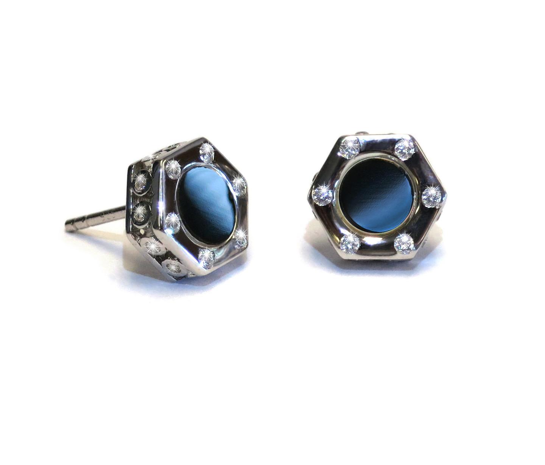 Monte Carlo Black Onyx SIlver Stud Earrings