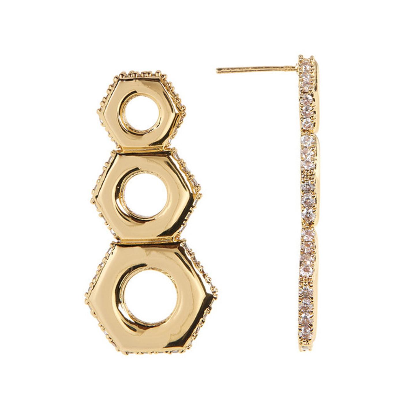 Gold Nut Drop Earrings