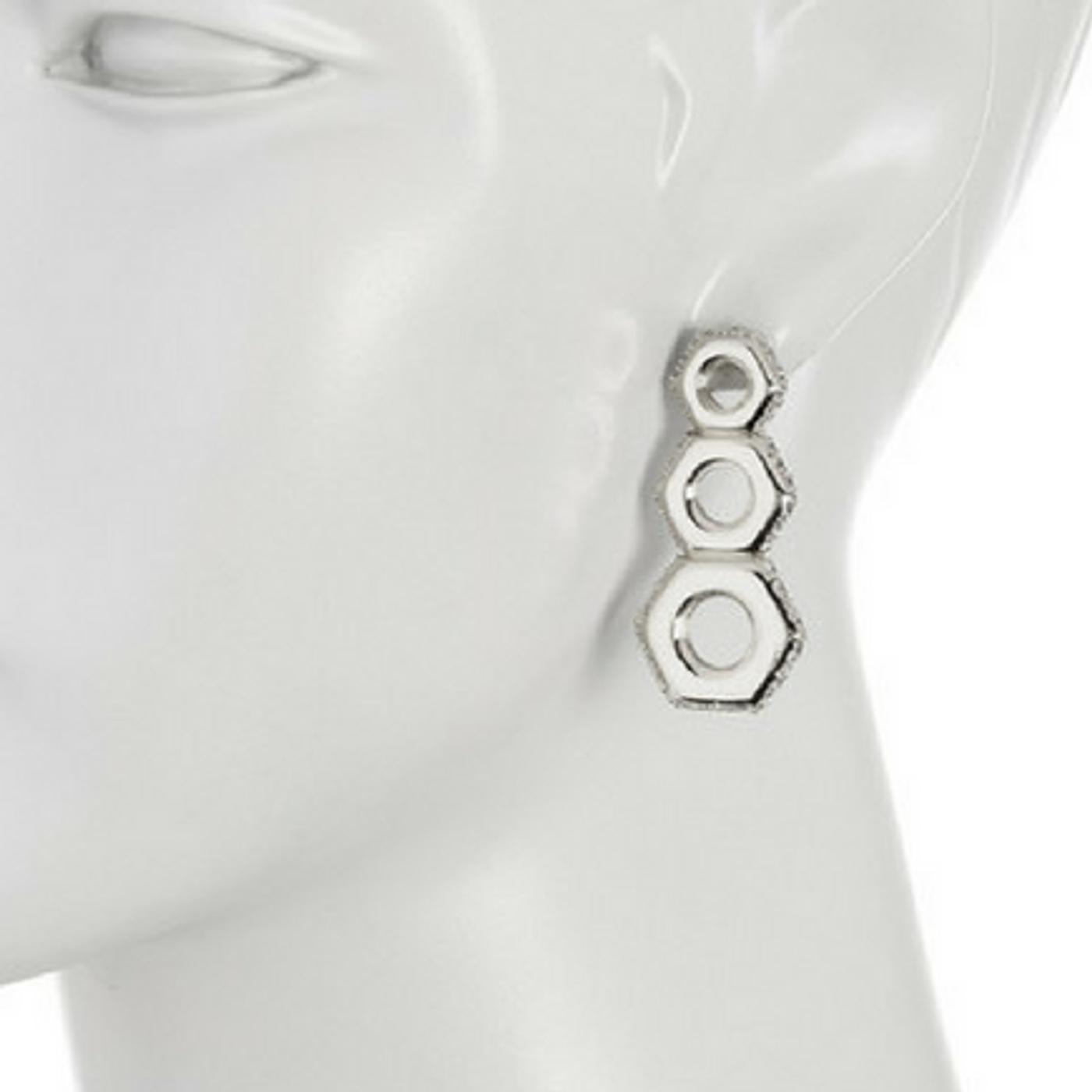 Silver Nut Drop Earrings